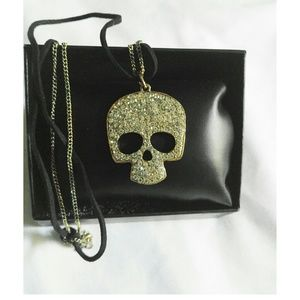 Jewelry - Gold And Crystal Skull Necklace